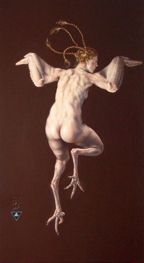 Pollo, óleo sobre tela de Gabriel Grün (2008)