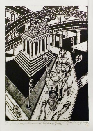 Alfredo Benavídez Bedoya, xilografía 100 x 70 cm