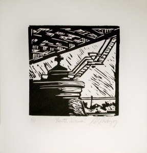 Felix Rodriguez xilografía de 25 x 25 cm